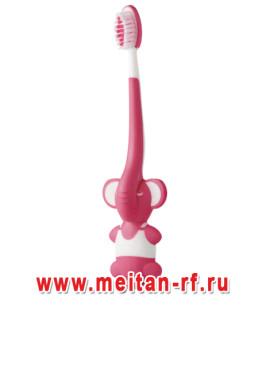 Детская зубная щетка с игрушкой (розовая) МейТан